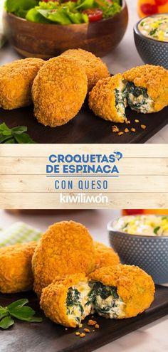 Croquetas de Espinaca con Queso - So Tutorial and Ideas Healthy Recepies, Healthy Menu, Vegetarian Recipes Dinner, Veggie Recipes, Cooking Recipes, Veggie Meals, Dessert, Food Inspiration, Food Porn