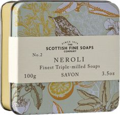 The Scottish Fine Soaps Company Soap In A Tin - Birds - Neroli Presented in a chic Vintage Bird Print design, this tin makes an elegant, stylish gift. Contains a triple milled soap in a beautiful fragrance with an exotic twist.