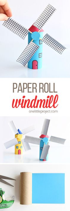 Turn a toilet paper roll into a paper roll windmill! That's such fun for kids … - DIY Projects for Kids Science Crafts For Kids, Crafts For Kids To Make, Projects For Kids, Diy Projects, Cool Kids Crafts, Windmill Diy, Paper Windmill, Toilet Paper Roll Crafts, Diy Paper