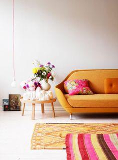 Orange + Pink living room, Bright ethnic retro romantic with layered rugs // Siren Lauvdal