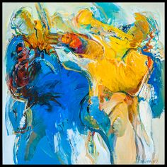 """""""Blues for Two"""" acryl op doek. 100x100 cm"""