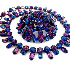CAPTIVATING Signed SCHREINER Brooch Necklace Sapphire Blue Amethyst from yearsafter on Ruby Lane