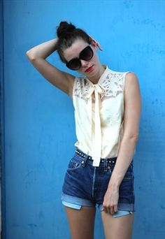 Vintage Silk and Lace Sleeveless Blouse