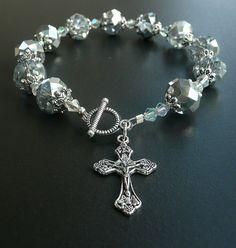 Genuine Silver Swarovski Crystal Antique Silver Rosary Bracelet #Handmade #Beaded