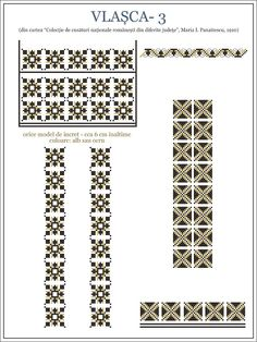 modele cusaturi ie - Yahoo Image Search Results Folk Embroidery, Learn Embroidery, Embroidery Patterns, Cross Stitch Designs, Cross Stitch Patterns, Wedding Album Design, Hobbies And Crafts, Beading Patterns, Pixel Art