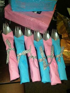 Blue and pink silverware for twin baby shower