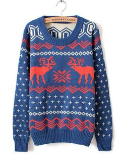 """U DOBU(y) X'mas Deer Round Neck Sweater Blue #bernard-lafond: """"These men threaten me all the time for their whores. Whatever. Your girlfriend shows your value to this earth."""""""