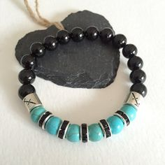 Sagittarius Starsign /zodiac bracelet - Turquoise/black onyx gemstone and starsign bracelet - nov/dec birthday - unisex bracelet