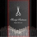 Elegant Dark Silver Damask - Hair Stylist Business Card Template | Zazzle
