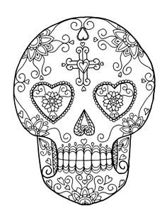 Free printable sugar skull (Day of the Dead) adult ...