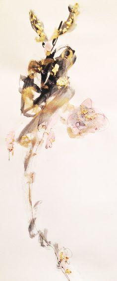 Watercolour, acrylic, ink, gold leaf - 2014 #iamdanielfisher #art #fashionillustration
