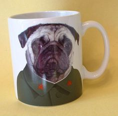 Mabelmae's Attic : New Ceramic Takkoda China Chinese Chairman Mao Zedong Pug Puppy Dog 8 oz Mug