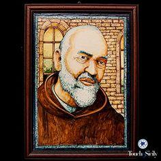 Touch della Sicilia di piastrelle di ceramica, fatto a mano, Padre Pio Pietralcina di pittura. EURO 697,88