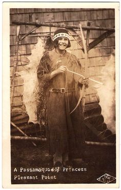PASSAMAQUODDY Princess, Pleasant Point Reservation, Maine, Ca.1930. Photo By J & W. Real Photo Postcard Edited Ca.1925 - 1940s.
