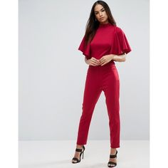 ASOS Jumpsuit in Scuba with Ruffle Cape Detail ($68) ❤ liked on Polyvore featuring jumpsuits, red, jump suit, red jumpsuit, ruffle jumpsuit, asos and red jump suit