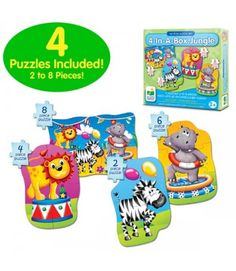 My First Puzzle set series are great starter puzzles from The Learning Journey International and will help little hands develop their fine motor skills. This set explores the animals of the jungle in a fun way that your child will enjoy for hours and grow with as they age! It builds both tactile and problem solving skills; it makes a great educational gift! http://www.tlji.com/369-thickbox_default/my-first-puzzle-sets-4-in-a-box-puzzles-jungle.jpg