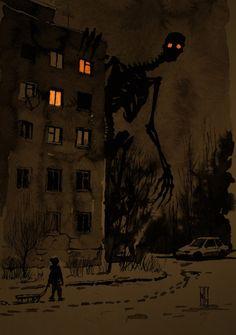 'Night walking' by Boris Groh Arte Horror, Horror Art, Dark Fantasy Art, Creepy Drawings, Art Drawings, Images Terrifiantes, Art Sinistre, Creepy Art, Monster Art