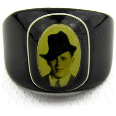 Mourning sweetheart ring in black celluloid with photo of man in black hat from Good Mourning Shop $130.00