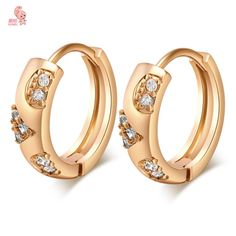New Stylish 18K Gold Plated Hoop Earrings With Shing Cubic Zircon CZ Crystals Jewelry Celebrity Wedding Gold Earrings For Women   Price: US $2.13   http://www.bestali.com/goto/32332471258/10