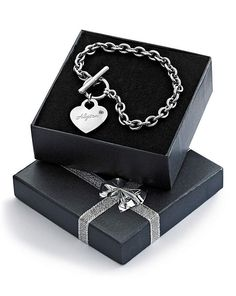 Personalised Heart T bar Bracelet
