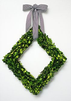 DIY Boxwood Diamond Wreath by Amy of Homey Oh My for Design*Sponge
