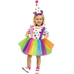 Buy Child Big Top Fun Clown Costume, available for Next Day Delivery. Our Child Big Top Fun Clown Costume features a Colourful Spotted Dress with a Ruffled Neckline and a Multicoloured Tutu Skirt along with the attach . Toddler Clown Costume, Girl Clown Costume, Clown Dress, Girl Costumes, Fun Costumes, Costume Ideas, Clown Hat, Children Costumes, Costume Contest