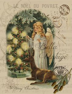 Vintage Art Collection Paper Christmas Angel with Deer Print, Pillow, Note Cards Silver Christmas, Victorian Christmas, Vintage Christmas Cards, Christmas Images, Christmas Angels, Christmas Art, Vintage Cards, Vintage Postcards, Christmas Decorations