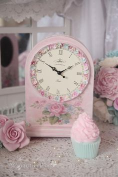 """http://www.bkgfactory.com/category/Alarm-Clock/ #Shabby_Chic Table Clock// Yes, she'd have liked the clock, but, the cupcake would be eaten in a flash, & she would sure have said, """"Yum, yum, eat 'em up""""!!!!!"""