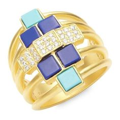 FREIDA ROTHMAN 14K Yellow Gold & Cubic Zirconia Bricked Lapis Ring ($117) ❤ liked on Polyvore featuring jewelry, rings, 14k yellow gold ring, 14k gold jewelry, cubic zirconia rings, 14k cz rings and 14 karat gold jewelry