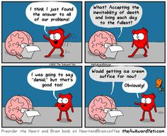 Our brains and our hearts have a very interesting relationship, and it is their crazy back-and-forth that Nick Seluk, the artist behind the popular Awkward Yeti webcomic, plays upon with his Heart And Brain comic series. Akward Yeti, The Awkward Yeti, Funny Cartoons, Funny Comics, Random Cartoons, Heart And Brain Comic, Brain Book, Just For Laughs, Funny Photos