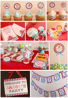 vintage blue circus carnival party, DIY printable by http://www.etsy.com/shop/venspaperie