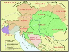 The Austrian-Hungarian Empire and today's national boundaries