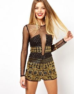 ASOS Playsuit with Embellishment