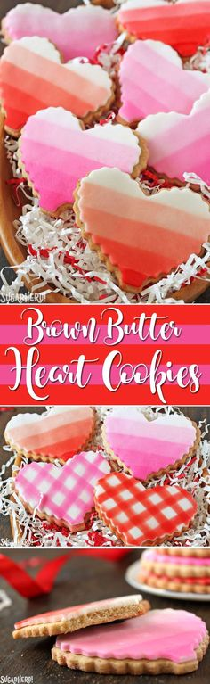 Brown Butter Heart Cookies - brown butter sugar cookies with pretty patterns for Valentine's Day!   From SugarHero.com