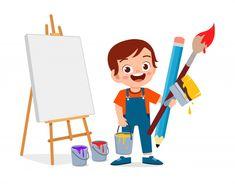 Happy cute little kid boy paint artist P... | Premium Vector #Freepik #vector #character #cartoon #paint #brush