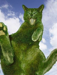 Art-Monie The Topiary Cat by, Richard Saunders. Garden Whimsy, Cat Garden, Dream Garden, Garden Art, I Love Cats, Cute Cats, Richard Saunders, Animals And Pets, Cute Animals