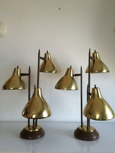 Pair of Mid Century original Brown and Brass by AtomicStructured