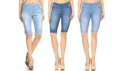 Women's Distressed Ripped Pull-On Denim Bermuda Shorts