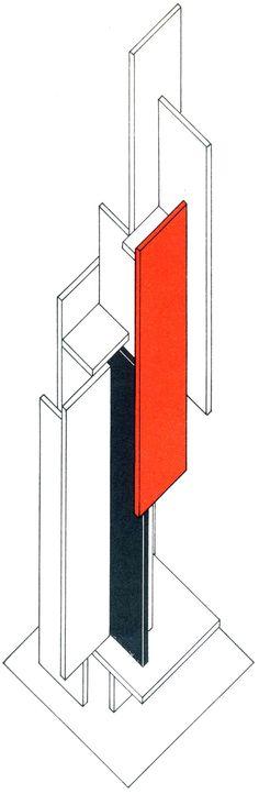Joost Baljeu, Synthetic Construction F VI - 1, Axonometric, 1967