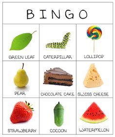 It's Playtime - Recreação em Inglês: The very hungry caterpillar - BINGO Caterpillar Preschool, The Very Hungry Caterpillar Activities, Hungry Caterpillar Party, Caterpillar Art, Eric Carle, Bingo, Spring Activities, Preschool Activities, Book Activities