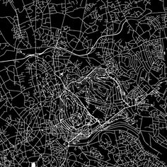 Kampala, Uganda, downtown vector map.  Art print pattern. White streets, railways and water on black. Bigger bridges with outlines. This map will show... ... #map #downloadable #background #vector #design