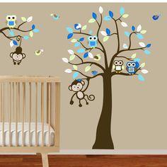 Superb Baby Boys Nursery Tree And Branch Wall Decal Owls Birds Monkeys   Via Etsy.