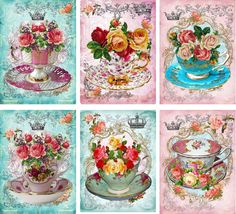 Vintage inspired Tea Cup roses card tags ATC altered art set of 6 #Handmade #AnyOccasion
