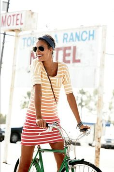 Ombre striped tshirt dress. yellow, orange & red ombre stripes. Stitch Fix 2016 Summer