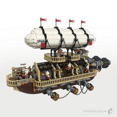Steampunk Lego, Steampunk Ship, Lego Creative, Creative Art, Lego Creator Sets, Lego Ship, Lego Castle, Cool Lego Creations, Lego Design