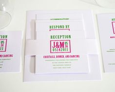 Pink and Green Wedding Invitations - Modern Squared Monogram Design Sample