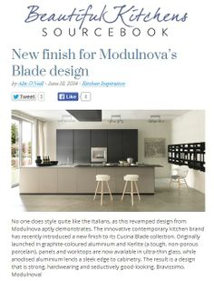 Modulnova's new Balde kitchen introduces ultra thin panels for worktops and cabinets, available from DesignSpace London designspacelondon.com http://beautifulkitchensblog.co.uk/2014/06/19/new-finish-for-modulnovas-blade-design/