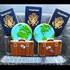 Passport Cookies, Suitcase Cookies, Map of the. - NY Cookies By Victoria Shared by Where YoUth Rise Fancy Cookies, Iced Cookies, Cut Out Cookies, Cute Cookies, Royal Icing Cookies, Cupcake Cookies, Sugar Cookies, Galletas Cookies, Travel Party