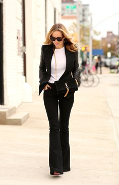 flared pants with white top and blazer