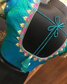 post by Moksh Blouse Studio New Saree Blouse Designs, Cutwork Blouse Designs, Simple Blouse Designs, Dress Neck Designs, Simple Embroidery Designs, Hand Work Blouse Design, Maggam Work Designs, Sumo, Gold Earrings